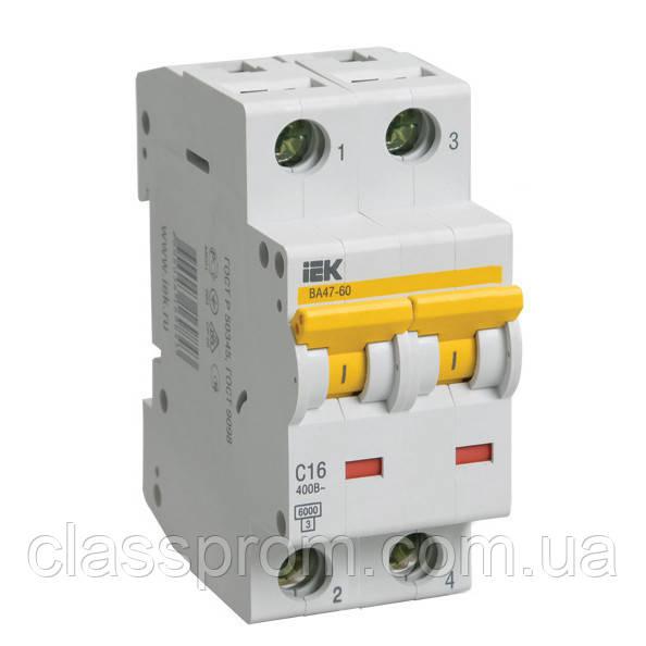 Автоматический выключатель ВА47-60 2P, 10 A, D IEK