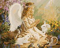 Картина раскраска. Ангелочек в лесу