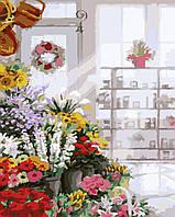 Картина раскраска. Букеты в цветочном магазине