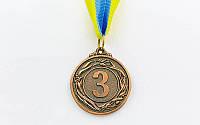 Медаль спортивная с лентой VIGOR d-4,5см C-3969 1-золото, 2-серебро, 3-бронза (металл, 20g)