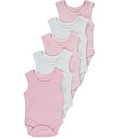 Боди-майки розовые и белые для девочек до 24 мес. George (Англия) 9-12 мес.