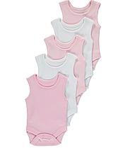 Боди-майки розовые и белые для девочек до 24 мес. George (Англия)