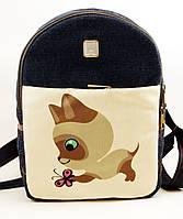 Джинсовый рюкзак котенок с бабочкой