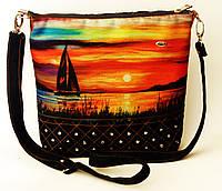 Женская джинсовая стеганная сумочка Парусник на закате