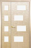 Полуторная (двустворчатая) межкомнатная дверь ФОРТИС САХАРА 4S, ПВХ DeLuxe