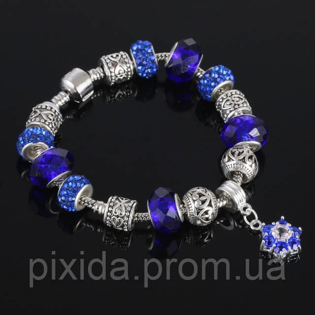 Браслет Pandora style. Серия Цветок. Синий