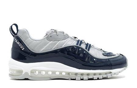 Мужские кроссовки Nike Air Max 98 x Supreme серые с синим топ реплика, фото 2