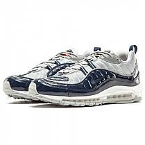 Мужские кроссовки Nike Air Max 98 x Supreme серые с синим топ реплика, фото 3