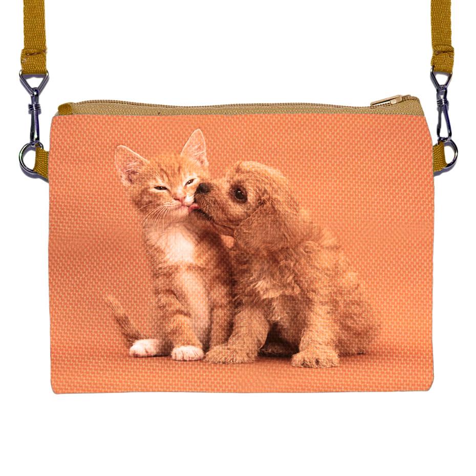 Детская сумочка для девочки с принтом Щенок с кошкой