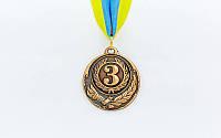 Медаль спортивная с лентой ZING d-5см C-4334-3 место 3-бронза (металл, d-5см, 20g)