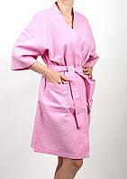 Халат для бани вафельный розовый