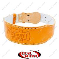 Пояс атлетический кожаный Zelart ZB-01016-4 (шир-4in (10см) с подкладкой для спины, на пряжке)