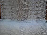 Тюль белая фатин с вензельной вышивкой , фото 1