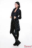 Женская теплая вязаная накидка-пальто