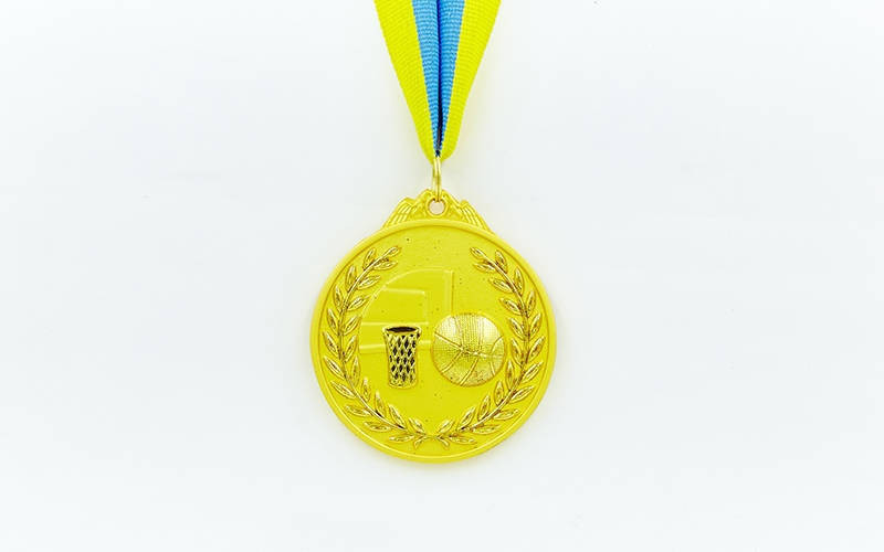Медаль спортивна зі стрічкою двоколірна d-6,5 см Баскетбол C-4849-1 місце (метал, покриття 2тона,56g)
