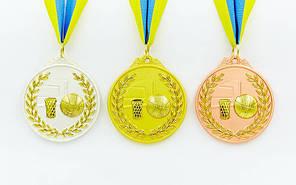 Медаль спортивна зі стрічкою двоколірна d-6,5 см Баскетбол C-4849-1 місце (метал, покриття 2тона,56g), фото 2