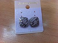 Распродажа Сережки-гвоздики под серебро с россыпью камней