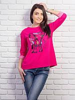 Красивая  женская кофточка с рисунком, цвет: малиновый меланж