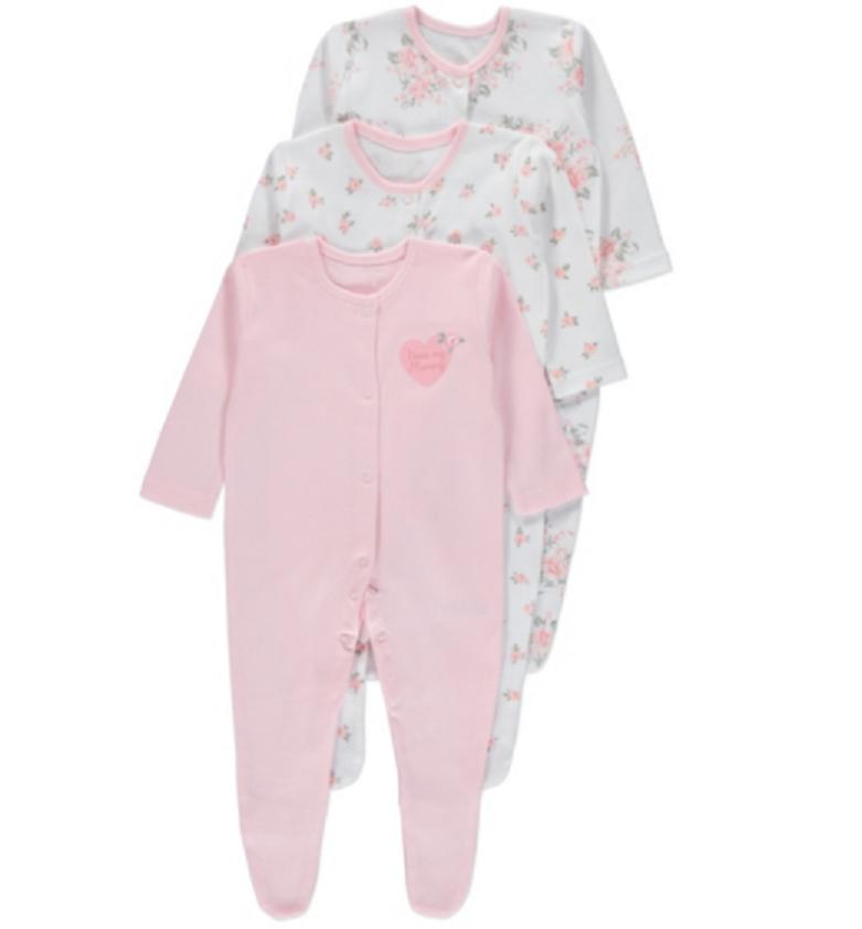 Человечки для новорожденных Девочки 12-18-24 мес. Набор 3 шт. Pink George (Англия)