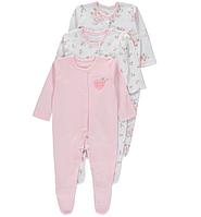 Человечки для новорожденных Девочки 12-18-24 мес. Набор 3 шт. Pink George (Англия) , фото 1