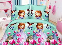 Полуторный детский комплект постельного белья (рисунок Принцесса и зайченок)
