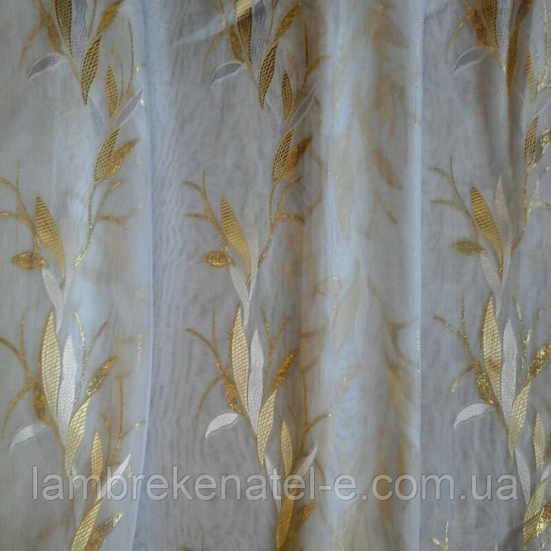 Тюль муар золотые листья