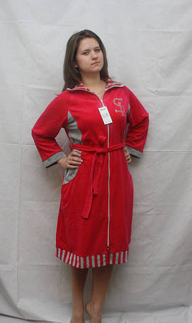 Велюровый халат с длинным рукавом, фото 2