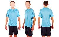 Футбольная форма подростковая New game CO-4807-BL (PL, р-р M-XL, голубой, шорты черные)