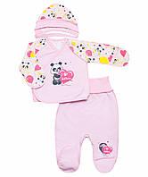 Комплект для новорожденного с начесом унисекс 36 (56см), Розовый