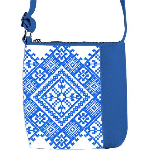 Синяя сумка для девочки с принтом Вышивка