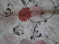Тюль шифон хризантема бордо, фото 1