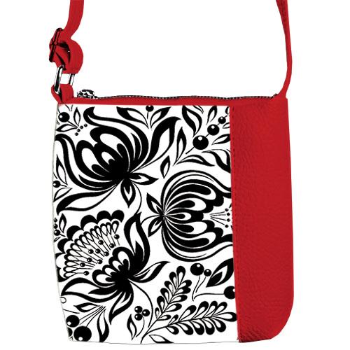 Красная сумка для девочки Mini Miss с принтом Цветы