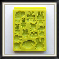 Молд силиконовый Звери (зайчики, кошки, собачки), фото 1