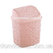"""Ведро для мусора с поворотной крышкой """"Ажур"""" 384, Турция, розовое"""
