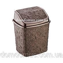 """Відро для сміття з поворотною кришкою """"Ажур"""" 384, Туреччина, коричневе"""