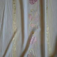 Тюль лен роза розовая