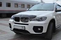 Дефлектор капота мухобойка SIM для BMW X5, (E70) 2007+, короткий, темный
