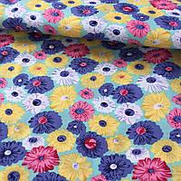 Штапель с желтыми, розовыми, синими и белыми цветами
