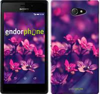 """Чехол на Sony Xperia M2 D2305 Пурпурные цветы """"2719c-60"""""""