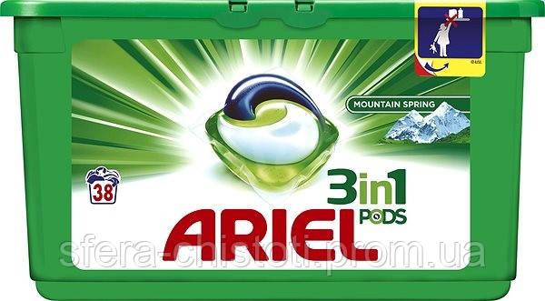 Универсальные гелевые капсулы для стирки Ariel 3 в 1 для белого, 38 шт