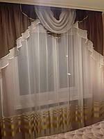 Шифоновый ламбрекен на карниз 1.5 м - 2 м  Шоколадного цвета