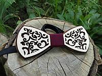 Деревянная бабочка галстук Орнамент ручной работы, серия Fantasy