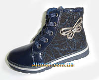 Демисезонные детские, подростковые ботиночки для девочки  31,32,33,34, 36р. синие 638