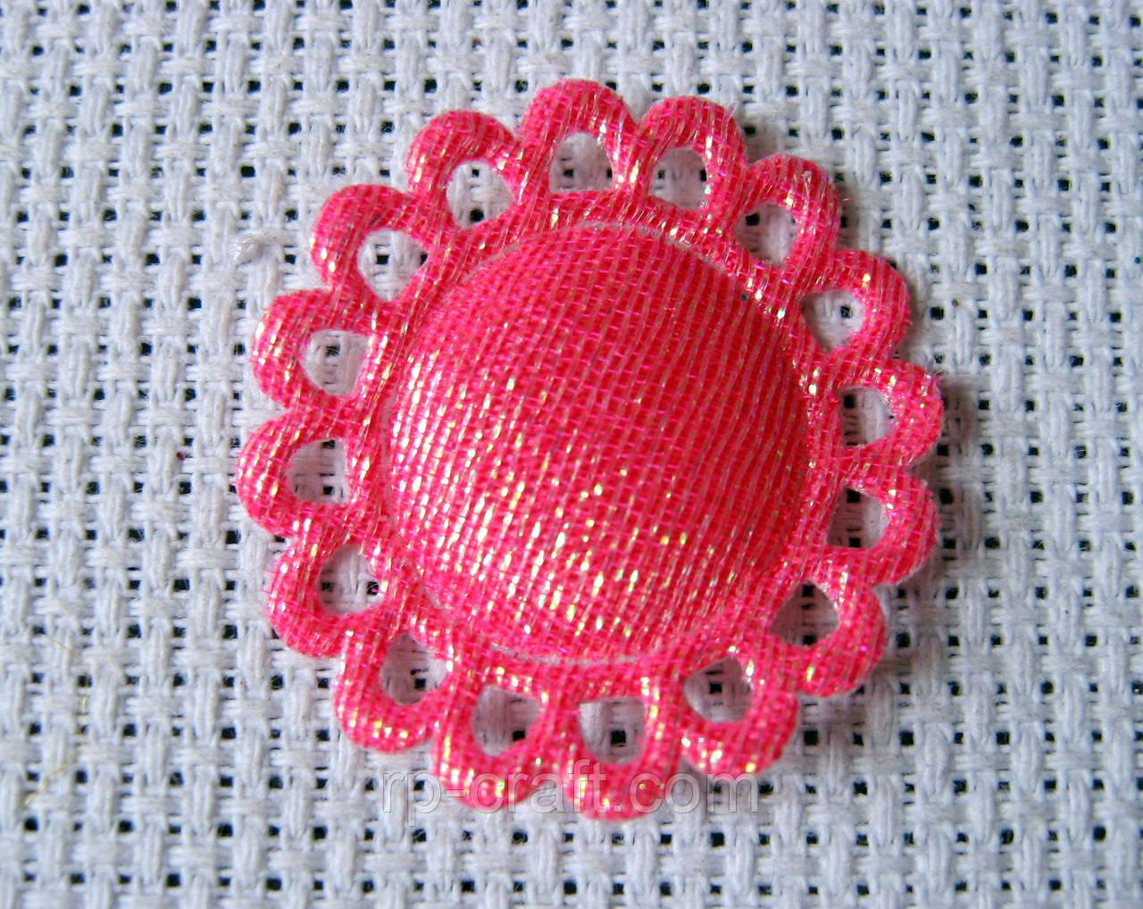 Аппликация пришивная,  круг ажурный, ярко-розовый