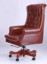 Кресло Линкольн, кожа коричневая (671-B+PVC), фото 3