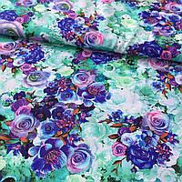 Штапель с сиреневыми и синими цветами на мятном неоновом фоне