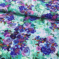 Штапель с сиреневыми и синими цветами на мятном неоновом фоне, фото 1