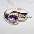 Комплект серебряный с фиолетовым фианитом и золотом Жаклин, фото 4