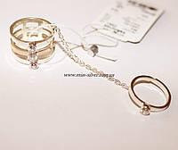 Тройное кольцо с цепочкой Космик