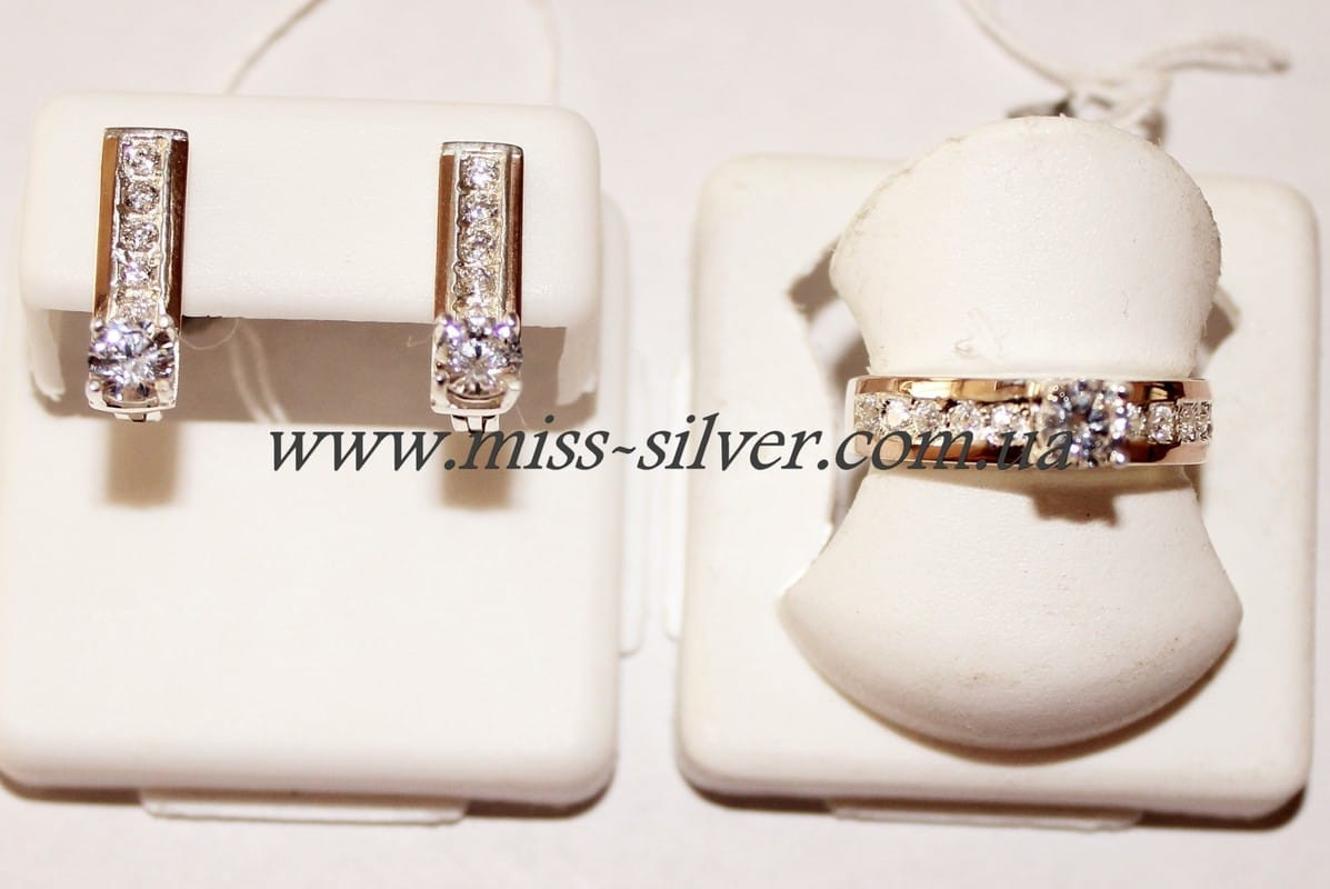 Гарнитур серебро с цирконами и золотом Ненси